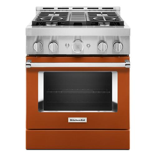 KitchenAid® 30'' Smart Commercial-Style Gas Range with 4 Burners - Scorched Orange