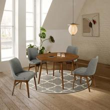 """See Details - Arcadia and Azalea 48"""" Round Charcoal and Walnut Wood 5 Piece Dining Set"""
