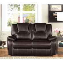 8085 DARK BROWN Manual Recliner Air Leather Loveseat