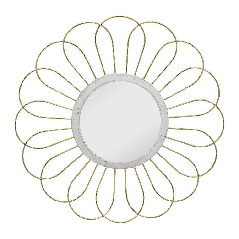 "Metal 35"" Daisy Mirror, Gold Wb"