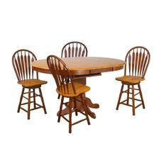 DLU-TBX4266CB-B24-NLO5PC  5 Piece Pedestal Butterfly Leaf Pub Table Set  Swivel Barstools