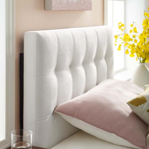 Lily Biscuit Tufted Twin Performance Velvet Headboard in White