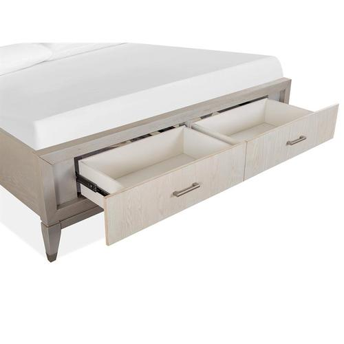 Magnussen Home - Complete King Panel Storage Bed w/Uph./PU Fretwork HB