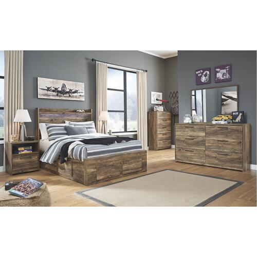 Full Panel Bed With 6 Storage Drawers With Mirrored Dresser, Chest and 2 Nightstands