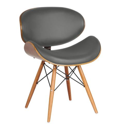 Armen Living - Armen Living Cassie Mid-Century Dining Chair in Walnut Wood and Gray Faux Leather