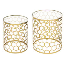 See Details - Gold Honeycomb Side Table with Tempered Glass Top (2 pc. set)