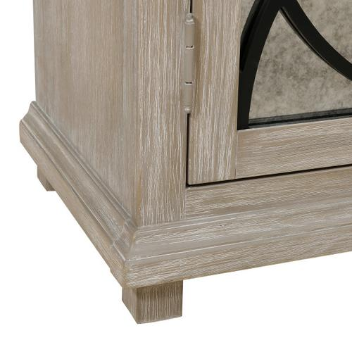 Two Door Mirror Front Accent Chest in Rustic Oak Brown