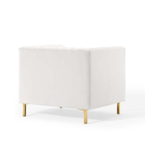 Shift Channel Tufted Performance Velvet Armchair in White
