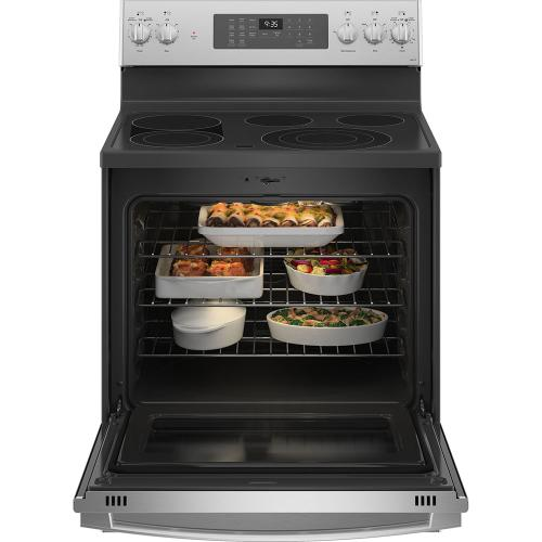 """GE Profile™ 30"""" Free-Standing Electric Convection Range with No Preheat Air Fry Stainless Steel - PB935YPFS"""