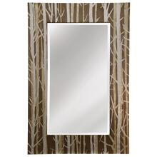 Rectangular beveled mirror with hand painted frame with silver branches on a natural tan background