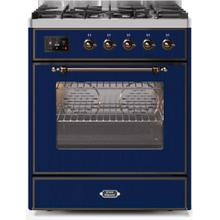 Majestic II 30 Inch Dual Fuel Natural Gas Freestanding Range in Blue with Bronze Trim