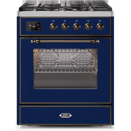 Product Image - Majestic II 30 Inch Dual Fuel Natural Gas Freestanding Range in Blue with Bronze Trim