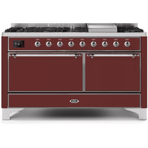 Majestic II 60 Inch Dual Fuel Natural Gas Freestanding Range in Burgundy with Chrome Trim
