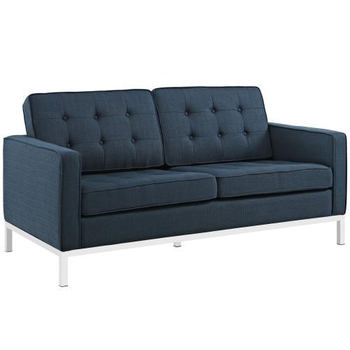 Loft Upholstered Fabric Loveseat in Azure