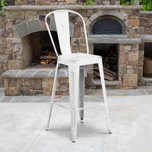 "Commercial Grade 30"" High Distressed White Metal Indoor-Outdoor Barstool with Back"