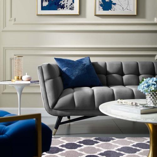 Modway - Adept Performance Velvet Sofa in Gray