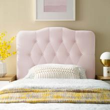 View Product - Annabel Twin Diamond Tufted Performance Velvet Headboard in Pink
