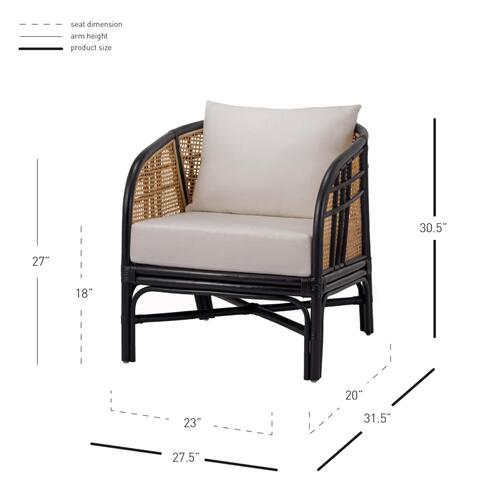 Ferrara Rattan Accent Arm Chair, Black/ Natural
