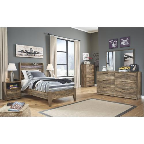 Twin Panel Bed With Mirrored Dresser, Chest and 2 Nightstands