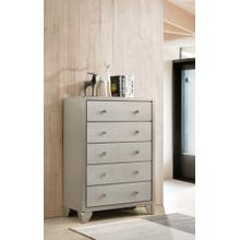 Keila Contemporary Champagne Silver Finish Wood 5-Drawer Chest