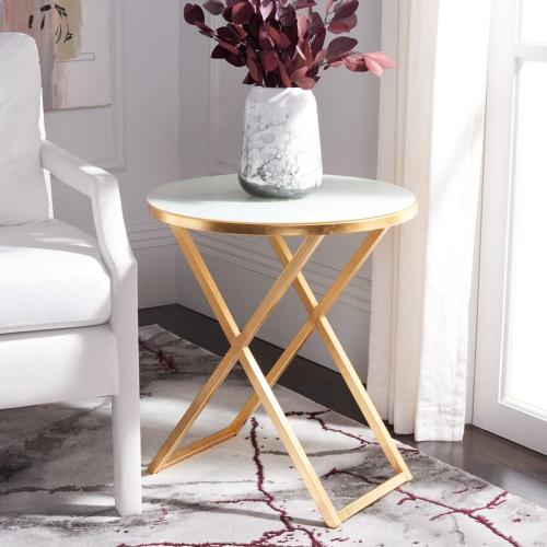 Riona Round Top Accent Table - Gold / White