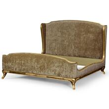 Louis XV French style bed (UK Queen/Velvet/W1-F6)