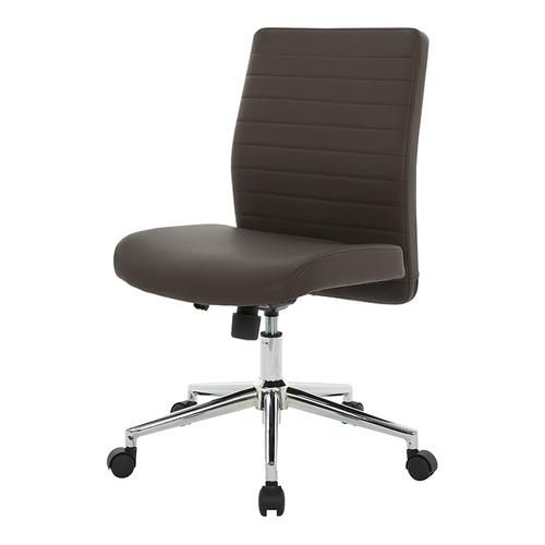 Chocolate Textured Bonded Lthr-locking Tilt-chrome Base- Chair Kd
