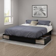 Platform Bed with Drawers - Pure Black