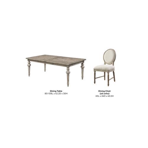 Interlude 7 Piece Dining Set, Sandstone Buff D560-10-05-7pcset-k