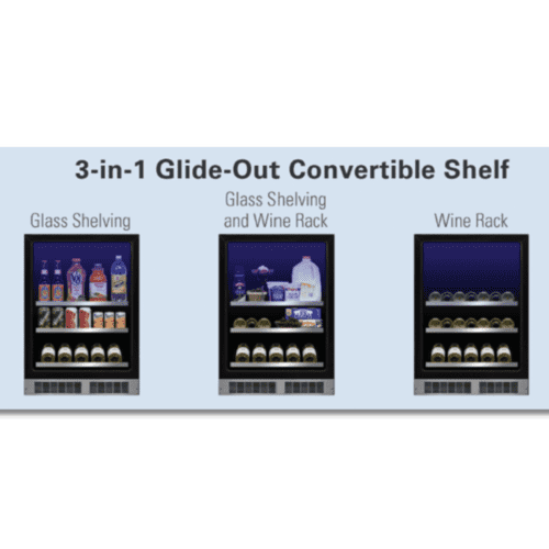 Marvel - 24-In Professional Built-In Beverage Center With Reversible Hinge with Door Style - Stainless Steel