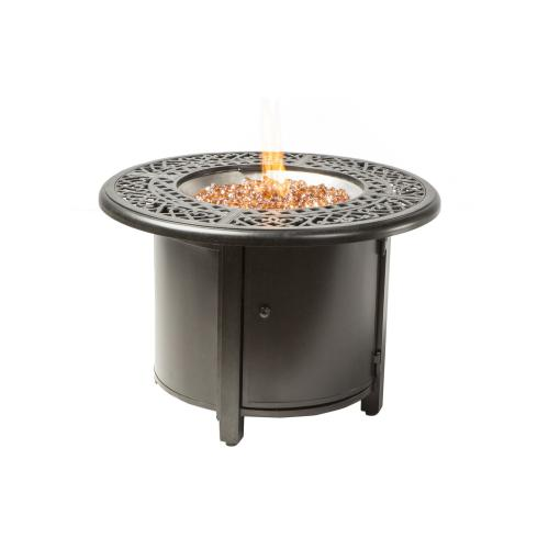 """Kinsale 36"""" Round Gas Fire Pit Chat Table w/burner"""