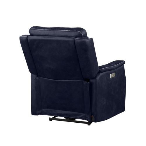 Gallery - Valencia Dual-Power Leatherette Recliner, Ocean Blue