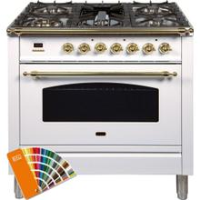 Nostalgie 36 Inch Dual Fuel Natural Gas Freestanding Range in Custom RAL Color with Brass Trim