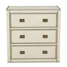 See Details - Chester Ivory Faux Leather Wrapped Trunk Style Drawer Chest