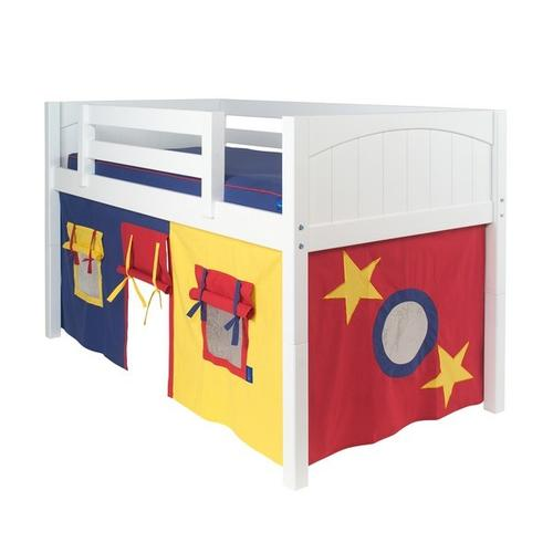 See Details - Under Bed Curtain : Blue/Red/Hot Yellow