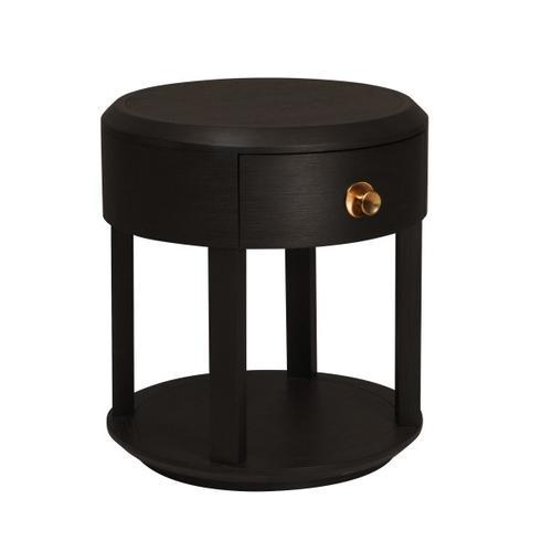 Modern Minimalist 1 Drawer Nightstand in Tuxedo Black