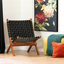 Woven Leather Lounge Chair - Black