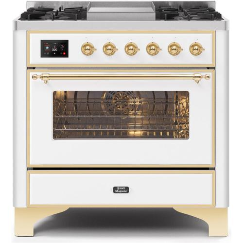 Majestic II 36 Inch Dual Fuel Liquid Propane Freestanding Range in White with Brass Trim