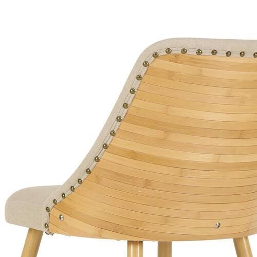 Nala KD Fabric Bamboo Dining Side Chair, Stokes Linen/Natural