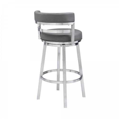 """Armen Living - Madrid Contemporary 26"""" Counter Height Barstool in Brushed Stainless Steel Finish and Grey Faux Leather"""