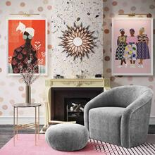 See Details - Boboli Grey Chenille Chair + Ottoman Set