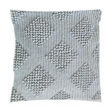 "(LS) Karina Woven Diamond Square Pillow (22"" x 22"") - Light Grey"