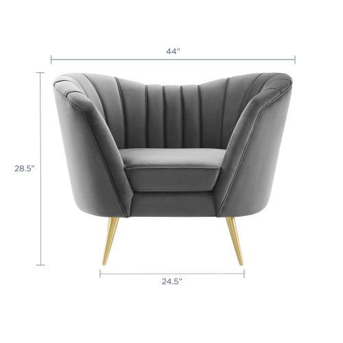 Modway - Opportunity Performance Velvet Armchair in Gray