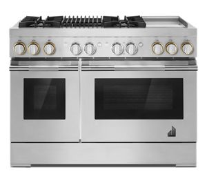 """RISE™ 48"""" Dual-Fuel Professional-Style Range with Chrome-Infused Griddle and Grill"""