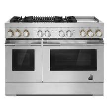 """See Details - RISE™ 48"""" Dual-Fuel Professional-Style Range with Chrome-Infused Griddle and Grill"""