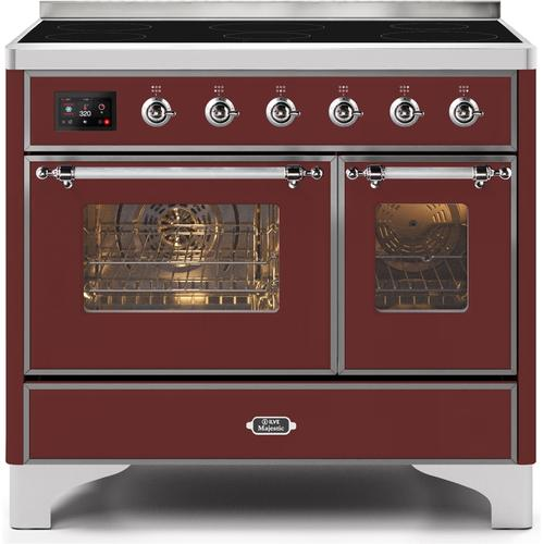 40 Inch Burgundy Electric Freestanding Range