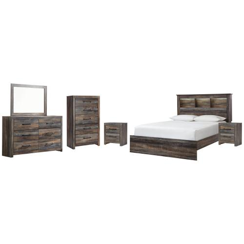Ashley - Queen Bookcase Bed With Mirrored Dresser, Chest and 2 Nightstands