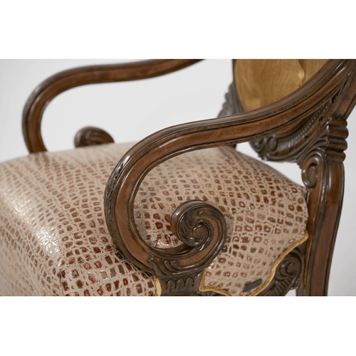 Leather/Fabric Wood Chair - Opt1