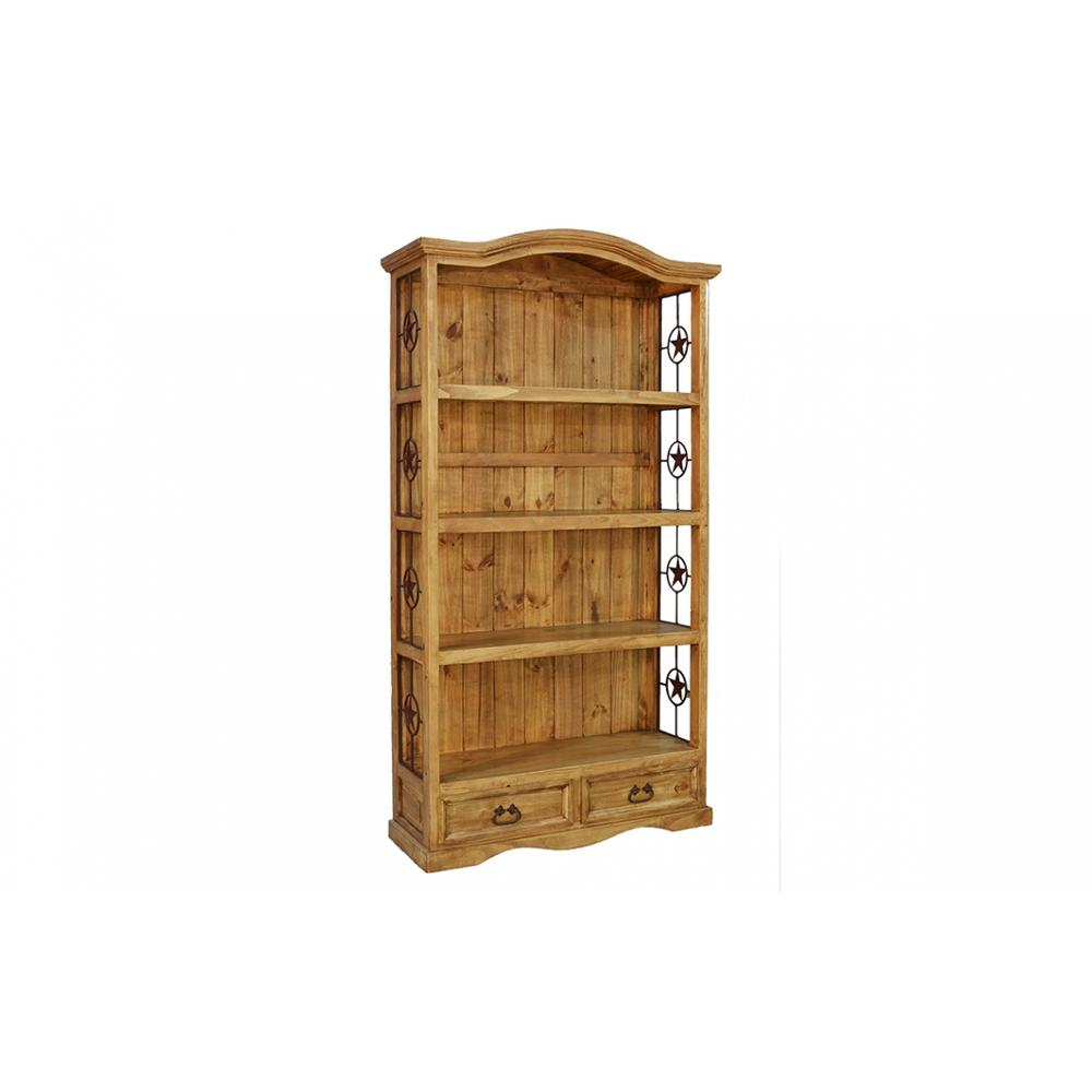 See Details - Rustic 2 Drawer Bookcase with Iron