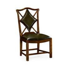 "Playing card ""Diamond"" side chair with medium English library green leather"